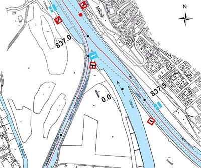Obr. 4 Soutok Vltavy a Labe v mapování platném po 1. 1. 2009