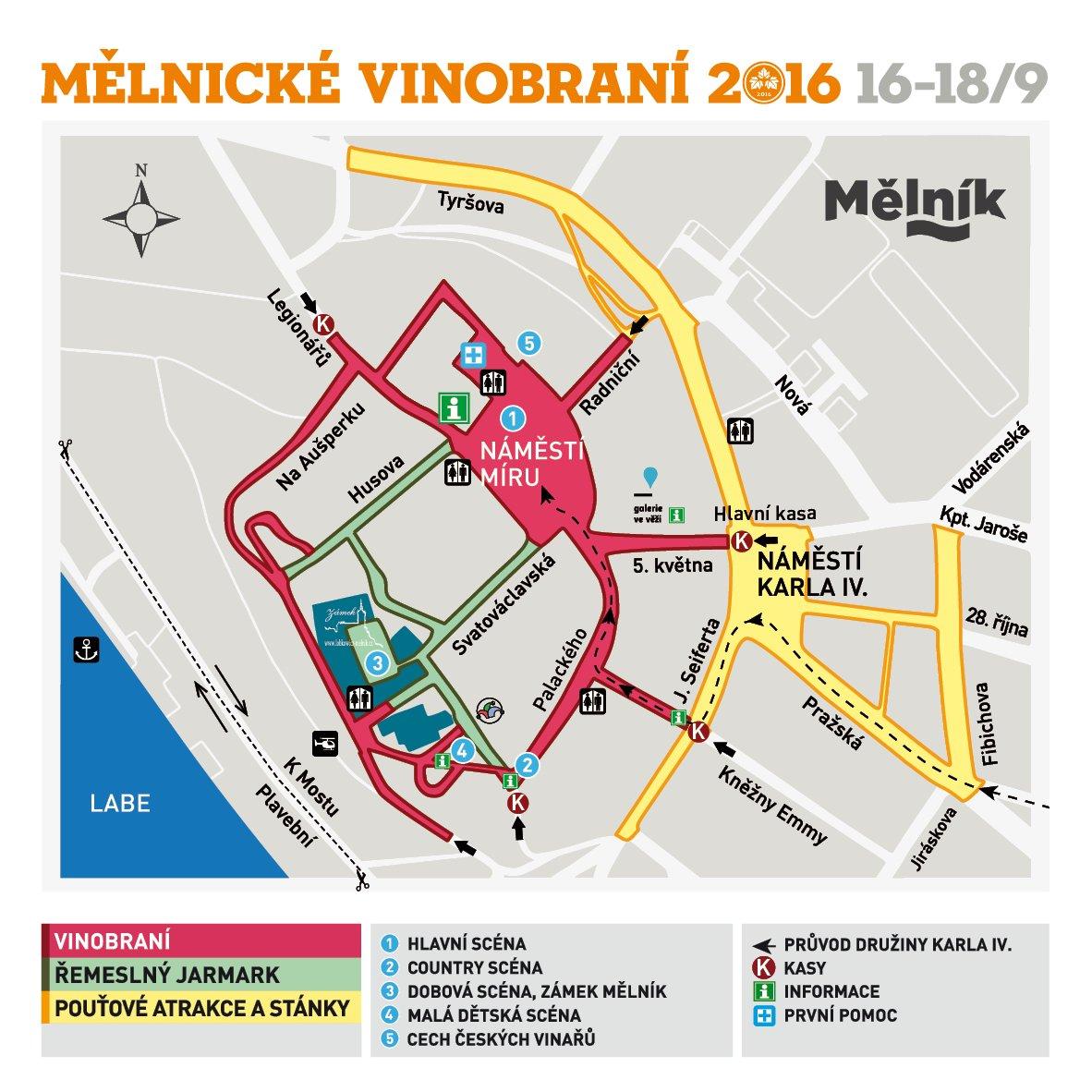 Mapa mělnického vinobraní 2016