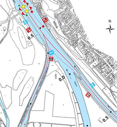 Obr.1 Nulový bod plavební kilometráže Labe platné do 31. 12. 2008